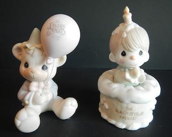 Vintage Precious Moments Figurine - CHOICE - Have a Beary Special Birthday, Sweetest Club Around - B-0104, B-0103 - bear balloon, cake