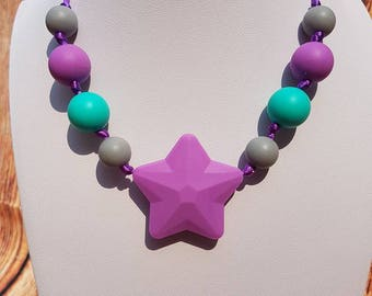 child star colourful silicone necklace