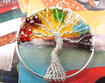 Chakra Tree of Life Pendant, Multi Stone Healing Crystal Pendant, Metaphysical, Holistic Chakra Tree