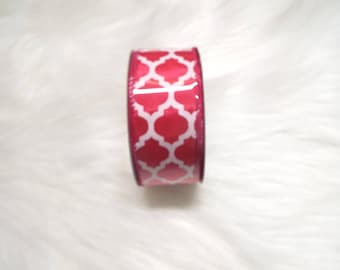 1.5X10yds-Fuchsia quatrefoil ribbon, Fuchsia lattice ribbon, Fuchsia quatrefoil ribbons, Fuchsia lattice ribbons, Fuchsia ribbon