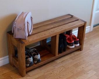 Entryway Rustic Shoe Bench, Shoe Storage, Shoe Organizer, Shoe Cabinet, Shoe Rack Wood