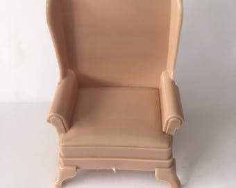 Marx Dollhouse Furniture Marxie Mansion Miniature Beige Highback Chair 1:16