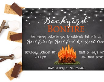 bonfire invitation bonfire thank you card backyard bonfire