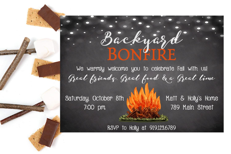 Bonfire Invitation Backyard Bonfire Bonfire Party