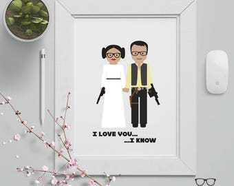 Custom Couple Illustration Portrait Poster - Star Wars Theme - Leia Organa & Han Solo- Custom Made