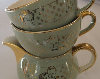 Villeroy and Boch coffee cups, creamer, head to head, the table, vintage 50's