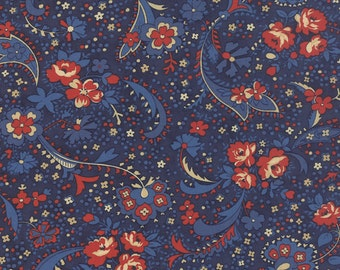 Polka Dots and Paisleys Paisley Blue Red- 1/2yd