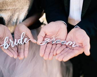 Bride & Groom Place Settings - Silver and Gold - Laser Cut Sign