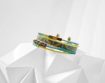 """Swarm"" ethnic bracelet, multi-row, copper, green tones, olive and turquoise"