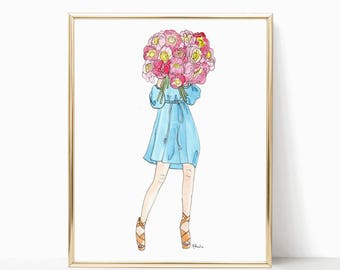 "Peony Blooms Babe - Prints - 8""x10"" - Various Sizes - Wall Art - Summer Fashion - Gifts for Her - Fashion Art - Peony Bouquet - Think of You"
