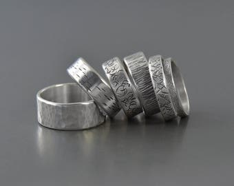 Handmade Textured Darkened Sterling Silver Wedding Ring