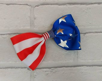 "Girls 5"" inch American Flag Patriotic Boutique hair bow inspired by JoJo Siwa Bows Signature keeper dance moms July 4th"