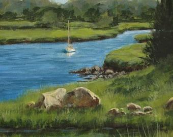 "Sailboat Harbor Marsh River Original signed Acrylic Painting square 6""x 6""x 1.5"""