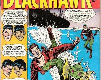 Blackhawk 219 comic. Alien combat book, Sci-fi, outer space war, ufo battle. Silver age stories. 1966 DC Comics in FN (6.0)