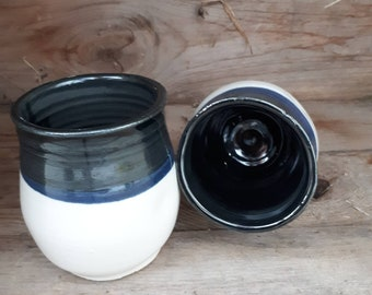 Pottery wine tumblers, tea,  cup, stemless goblets in black and white  holds 8 ounces