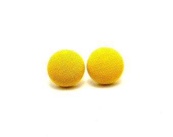 Yellow fabric button earrings - yellow button earrings -  yellow earrings - gifts for her - sunshine yellow earrings - clip ons or pierced