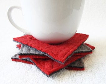 Wool Coasters RED & GRAY Recycled Mug Rugs Felted Wool Coasters by WormeWoole