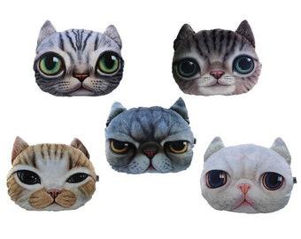 3D Cat Print Emoji Throw Pillow/Cushion