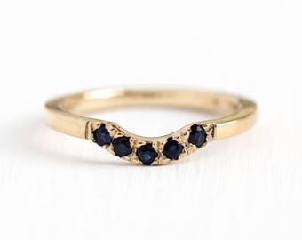 The Lucinda Band - Handcrafted 14k Yellow Recycled Gold Genuine Sapphire Wedding Ring - Blue Gem Arch Curved Stacker MJV Design Fine Jewelry