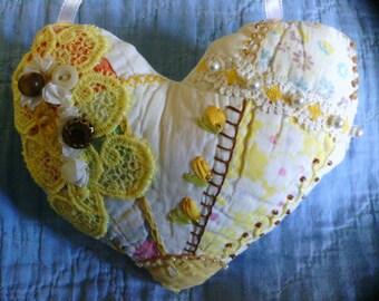 Yellow Golden Heart Crazy Quilt Pillow