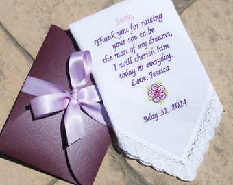 Embroidered Wedding Handkerchief for Mother of the Groom! FREE GIFT CASES with each Hankerchief!!