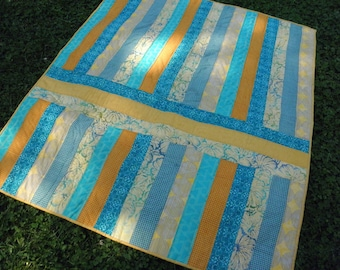 Baby Quilt in Sunny Summer Stripes in Two Directions