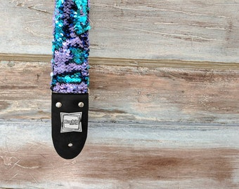 Guitar Strap Sparkly Purple And Turquoise Mermaid Flip Fabric   Bass Guitar Strap   Birthday Gift   Acoustic Guitar Strap   Music Gifts  