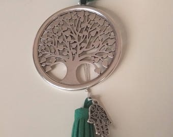 Necklace made by artificial suede cord, ceramic bead/bar, silver antique tone Tree of Life pendant, Hamsa hand, finished with suede tassel