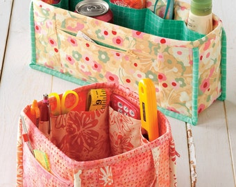 Pockets to Go, Purse Organizer Caddy Pattern, Atkinson Designs, DIY Sewing 2 Sizes