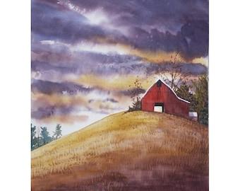 la peinture de paysage aquarelle imprimer Grange rouge automne pays rural tempête nuages GICLEE différentes tailles