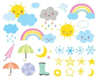 Weather Clipart Clip Art Season Clipart Sun Moon Star Snow Rainbow Rain Summer Clipart Winter Clipart - Digital Instant Download