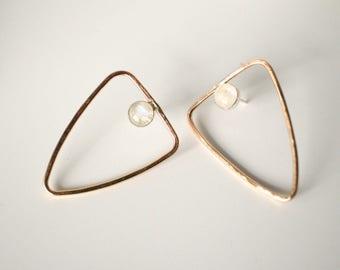 triangle rainbow moonstone studs, open shapes 14k gold fill, large big geometric earrings, minimalist statement jewelry