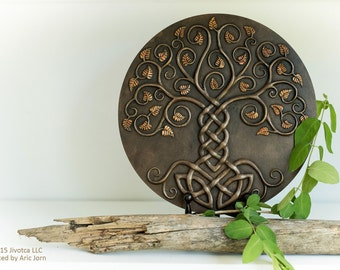 Yggdrasil: The World Tree. Cold-cast Relief Sculpture with antique BRONZE finish. Norse Viking Mythology Tree of life