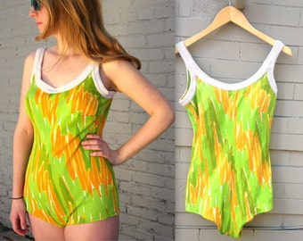 1960's Bathing Suit // One Piece SwimSuit // Women's large // Built in Bra // 60's suit // green yellow orange // beach day // atomic kitsch