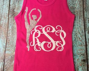 Glitter Monogram Tank Top, Ballerina, Dancer, Monogram tank top, Monogram dancewear, Girls and Women's sizes