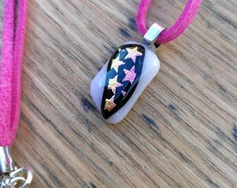 Pink/gold stars dichroic fused glass pendant, pink suede cord, silver plated findings