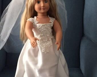 """Wedding Dress for 18"""" Doll"""
