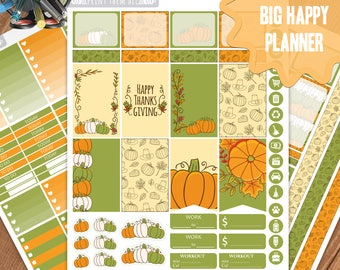 Thanksgiving Planner Stickers Printable, Big Happy Planner Stickers, Weekly Planner Kit,Planner Stickers,Big MAMBI Planner Stickers, Digital