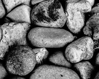 stones river smooth round worn zen fine art photograph black and white home office decor