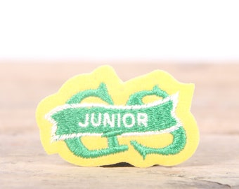 """Vintage Girl Scout Patch / 1970's-80's Scout Patch / Green Yellow Junior Patch / Old Stock Scout Patch / 1.5"""" Girl Scouts Patch /Scout Badge"""