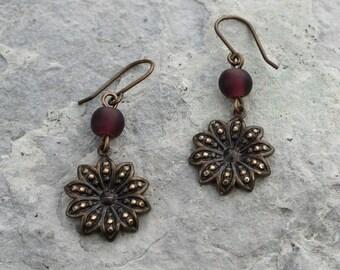 Flowers of Love Earrings in Dark Purple