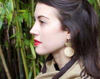 Statement Earrings, Bold Earrings, Geometric Shape Earrings, Brass, Sterling Silver Hooks, BECCA