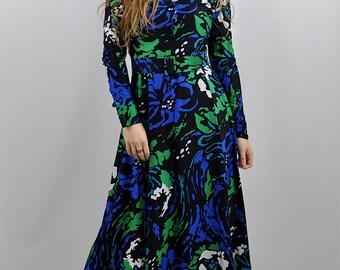 Vintage '70s Floral Boho Horrockses Maxi Dress