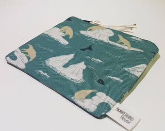 Fabric Coin Purse Pouch Polar Bears Narwhal Winter Iceberg Artic Light Blue Travel Bag