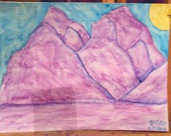 Purple mountains-watercolor pencil on watercolor paper