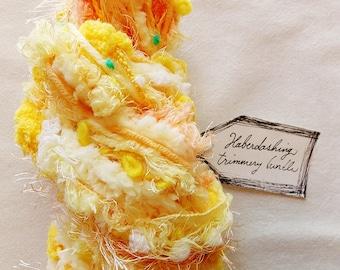 Sunny Side Up pastel white yellow pom fringe twine Novelty Fiber Yarn Sampler Bundle