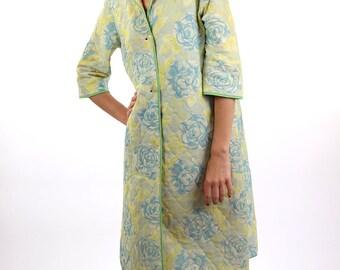Floral spring coat, women coat, yellow women coat, vintage trench coat, medium, women jacket