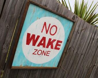 Large Nautical No Wake Zone Sign | Beach House Sign | Square No Wake Zone Sign | No Wake Zone Sign | Nautical Sign | Square Beach Sign