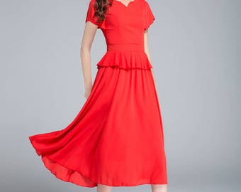 red chiffon dress, summer dress, fit and flare dress, elegant dress, boho dress, wedding dress, romantic dress, ladies dress, plus size 1758