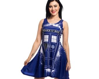 Doctor Who Tardis Graffiti Women's Dress Blue Sci Fi Ladies Geek Dress BBC TV Show